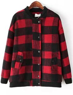 Red Long Sleeve Plaid Loose Woolen Jacket 43.33