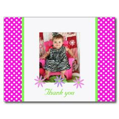 Shop P & W Polka-dots: Picture: Thank You Postcard created by SayItNow. Personalize it with photos & text or purchase as is! Thank You Postcards, Thank You Cards, Zebra Pictures, Birthday Postcards, Postcard Size, Party Invitations, Create Your Own, Polka Dots, Prints