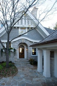 Modern Shingle Style Architecture Design Ideas, Pictures, Remodel and Decor Luxury Interior Design, Home Interior, Interior And Exterior, Exterior Stairs, Traditional Exterior, Traditional House, Foyers, Cabana, My Dream Home