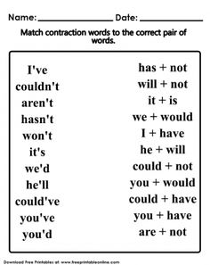 This Contraction Words Worksheet image is free to print out. Homeschool Worksheets, English Worksheets For Kids, 2nd Grade Worksheets, English Lessons For Kids, Homeschooling, Money Worksheets, Teaching Activities, Teaching Reading, Teaching Kids