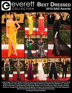 Best Dressed: The 2015 Screen Actors Guild (SAG) Awards: Caitriona Balfe in Solace London; Emma Stone in Christian Dior Couture. Small images, top row: Uzo Aduba in Angel Sanchez; Maisie Williams in Self-Portrait. Middle row: Julianne Moore in Givenchy; Lupita Nyong'o in Elie Saab. Bottom row: Claire Danes in Marc Jacobs; Jennifer Aniston in vintage John Galliano; Keira Knightley in Erdem; Laura Carmichael in Vionnet; Rosamund Pike in Christian Dior Couture; Julia Roberts in Givenchy.