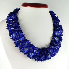 Violet necklace Beaded necklace Seed bead necklace Blue by Galiga