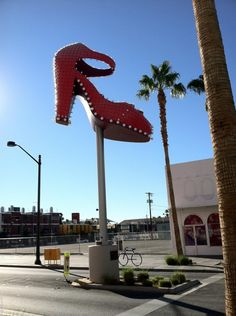 Big Red Shoe On Fremont Street In Downtown Vegas