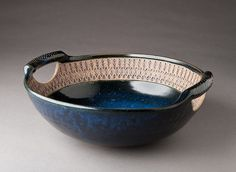 Stoneware Church Key (metal can opener for texture) Handled Bowl by natureofclay, via Flickr