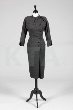 Madame Grès couture steel grey wool day dress and conical silk faille hat, circa 1952