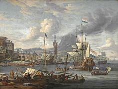 Abraham Storck Каприччио средиземноморского порта с выгрузкой голландского судна (A capriccio of a mediterranean har_)