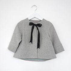tiny gray coat with black ribbon bow #adorbs