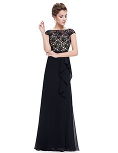 986b112c34c9 Ever Pretty Womens Cap Sleeve Long Empire Waist Prom Dress 10 US Black  Večerné Róby