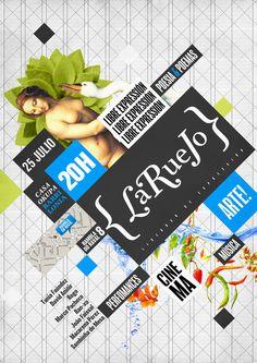 """Affiche pour le festival """"La Rue Jo"""".   Le choix de l'inclinaison et les nombreux blocs apportent un côté décalé à la mise en page."""