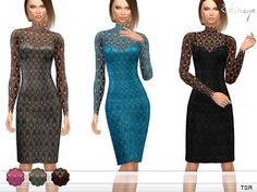 Lana CC Finds -  Lace And Tulle Dress by ekinege