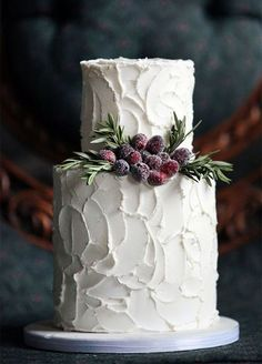 Vibrant winterberries add a seasonal punch to a textured white wedding cake. Wedding Cakes, Cake Decorating, Winter Wedding