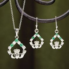 Emerald and CZ Claddagh Pendant at Creative Irish Gifts.
