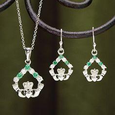Emerald and CZ Claddagh Pendant at Creative Irish Gifts.