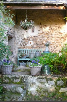 Charming French farmhouse outdoor sitting area with rustic stone, chandelier, and green bench, French Farmhouse Decor Inspiration Ideas will take you on a romantic tour of images capturing this charming decor style. Outdoor Rooms, Outdoor Gardens, Outdoor Retreat, Outdoor Living, Rustic Gardens, Gazebos, French Farmhouse Decor, Farmhouse Interior, Interior Garden