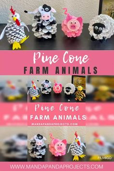 Pine Cone Farm Animals: Pig, Cow, Lamb, Rooster, Chick