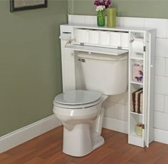 Space Saver Two-Side Cabinet Bathroom Furniture With Pull-Down Door White Finish