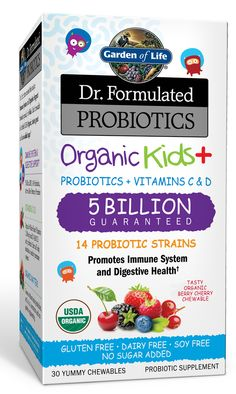 Garden of Life Dr. Formulated Organic Kids Probiotics promote immune & digestive system support with14 probiotic strains + vitamins C & D, no added sugars.