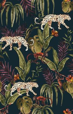 Black patterned wallpaper with tropical green leaves and leopards Watercolor Wallpaper, Wallpaper Size, Dark Wallpaper, Animal Wallpaper, Pattern Wallpaper, Wallpaper Backgrounds, Iphone Wallpaper Jaguar, Monkey Wallpaper, Iphone Wallpapers