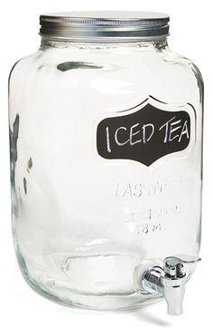 This chalkboard beverage dispenser is perfect for parties, year round Mason Jar Crafts, Mason Jars, Glass Beverage Dispenser, Dining Ware, Kitchen Dining, Quirky Kitchen, Kids Corner, Iced Tea, Glass Jars
