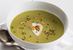 Green Asparagus Soup with Celery Seed Sour Cream and Toasted Hazelnuts #recipe from The Splendid Table.