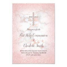 diamond cross on marble first communion invitation   Zazzle.com
