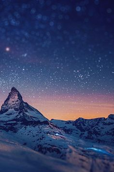 Starry Mountains over Mount Matterhorn, Swiss Alps.