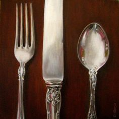Sterling Silver Placesetting fork knife spoon antique vintage flea market, painting by artist JEANNE ILLENYE