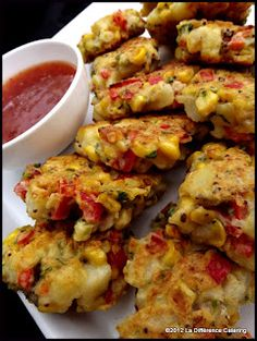 La Difference Catering: Sweetcorn, new potato & red pepper fritters
