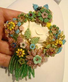 stanley hagler vintage jewelry | Finest Vtg Stanley Hagler St Gielar Beaded Cameo Brooch | eBay