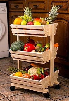 3 tier Wooden vegetable rack fruit food storage rack on the wheels Diy Home Decor Projects, Diy Home Crafts, Wood Projects, Projects To Try, Vegetable Rack, Vegetable Storage, Storage Rack, Food Storage, Reuse Old Tires