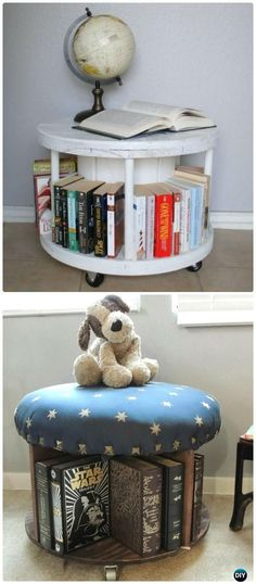 DIY Wire Spool Bookcase Instruction - Wood Wire Spool #Furniture; Recycle Ideas