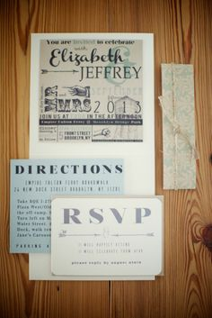 Wedding Invitations handmade by the bride and groom | See the wedding on http://www.StyleMePretty.com/2014/01/15/brooklyn-bridge-park-wedding/ Photography: Weddings By Two
