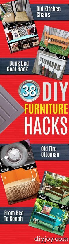 DIY Furniture Hacks   Cool Ideas for Creative Do It Yourself Furniture Made From Things You Might Not Expect   Repurpose and Upcycling Ideas for Home Decor, Bedroom, Bath and Patio http://diyjoy.com/diy-furniture-hacks