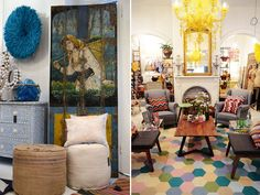 >>>This eclectic gathering of brightness is so insanely close to what a room would look like if I were given free reign. LOVE the beautiful disaster of colors and textures.
