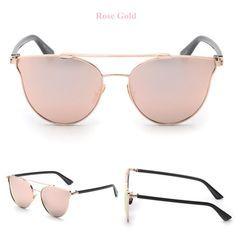 Rose Gold Mirror Sunglasses With Black Frame