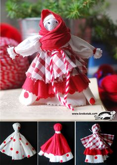 Rag doll – Baba Marta (Iva's Creations) Baba Marta, Diy Paper Christmas Tree, International Craft, Diy And Crafts, Crafts For Kids, Fabric Roses, Fabric Yarn, Thinking Day, Soft Dolls