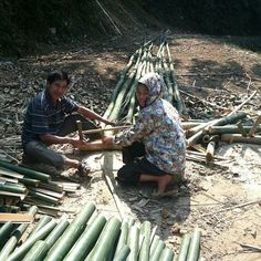 A Vietnamese couple cutting bamboo. February 2014. #Vietnam #travelblogger #green #InSearchOf #ॐ #SpirituallyP