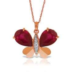 #QP Jewellers - #QP Jewellers Ruby and Diamond Butterfly Pendant Necklace 10.5ctw in 9ct Rose Gold - AdoreWe.com