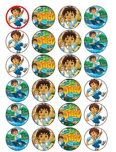 24 Go Diego Go  Cupcake Toppers