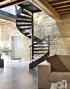 Black Metal Spiral Staircase contrasts with Light Textured Walls Loft Conversion Modern Staircase, Staircase Design, Spiral Staircases, Interior Stairs, Interior And Exterior, Architecture Details, Interior Architecture, Escalier Design, Metal Stairs