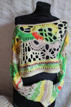 Multicolor asymmetrische Chunky vrije gehaakte trui Top