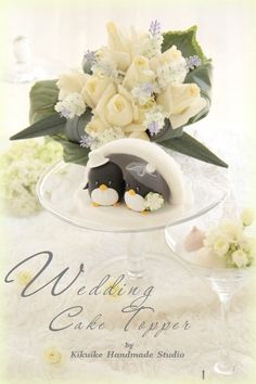 LOVE ANGELS Wedding Cake Topperlove Penguins with by kikuike,    I think they're adorable.