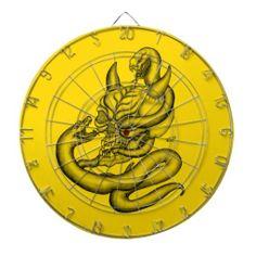 Skull - Devil Head with Snake Dart Board - NEW by Krisi ArtKSZP on Zazzle