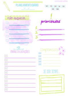 Organização de planejamento diário feita por mim para impressão A4.