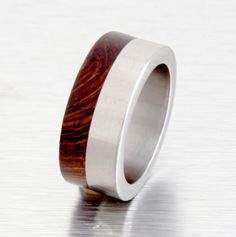 iron wood ring mens wood wedding band with by aboutjewelry on Etsy, $160.00