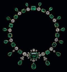 Emerald, diamond, 18k, and platinum necklace.  Jewels of The Romanov's