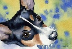 """Rat Terrier"" Dog Art Print Signed by Artist DJ Rogers,$12.50"