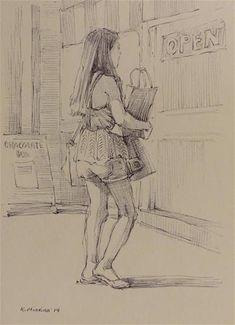 Katya Minkina Gallery of Original Fine Art – Archive Human Figure Sketches, Figure Sketching, Figure Drawing, Fish Drawings, Art Drawings, Hatch Drawing, Person Sketch, Perspective Drawing Lessons, Art Challenge