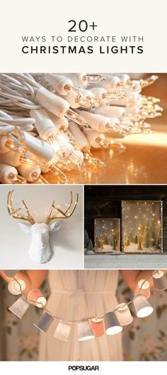 23 Unique Ways to Decorate With Christmas Lights.  Many cute ideas, incl. framed card display.