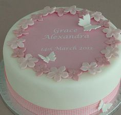 Christening cake decorating kit with pink gingham ribbon